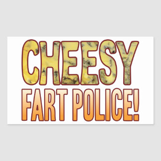 Fart Police Blue Cheesy Rectangular Sticker