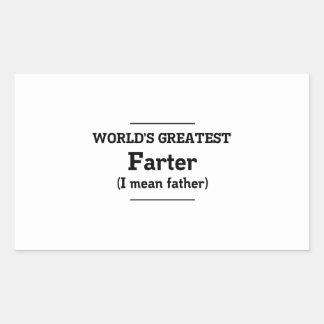 Farter más grande del mundo pegatina rectangular