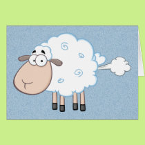 FARTING CARTOON SHEEP BIRTHDAY GREETING CARD