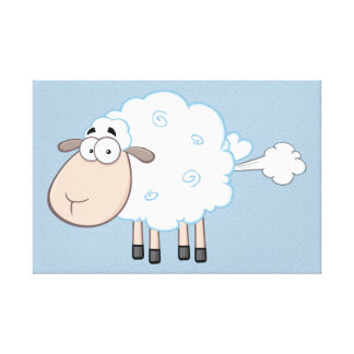 FARTING CARTOON SHEEP WRAPPED CANVAS