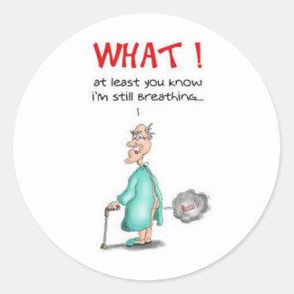 Farting Old Man Round Sticker
