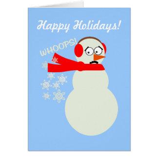 Farting Snowman Cartoon Greeting Card