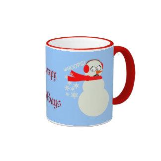Farting Snowman Cartoon Ringer Mug