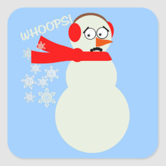 Farting Snowman Cartoon Square Sticker