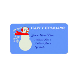 Farting Snowman Christmas Holiday Label