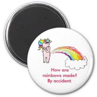 farting unicorn, How are rainbows made? By acci... Fridge Magnet