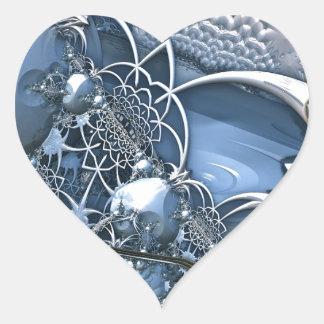 Fascinación azul cristalina pegatina en forma de corazón
