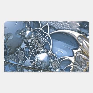 Fascinación azul cristalina pegatina rectangular