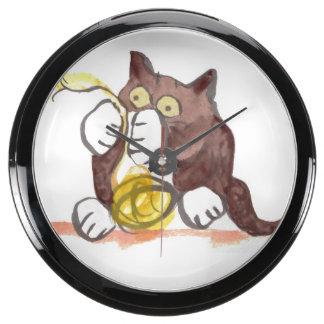 Fascinating Ball of Yarn and Kitten Aqua Clocks