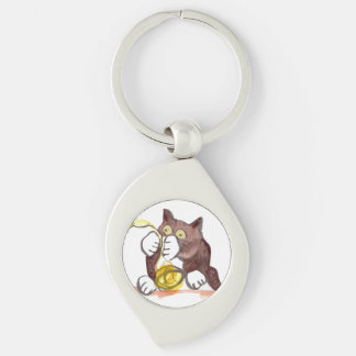 Fascinating Ball of Yarn and Kitten Silver-Colored Swirl Metal Keychain
