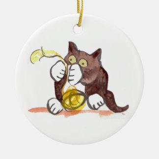 Fascinating Ball of Yarn & Kitten Ceramic Ornament