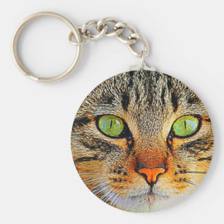 Fascinating Green Eyed Cat Key Chains