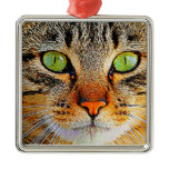 Fascinating Green Eyed Cat Metal Ornament