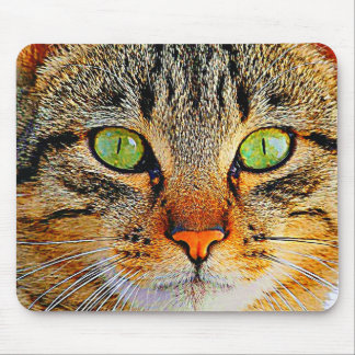 Fascinating Green Eyed Cat Mouse Pad