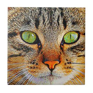Fascinating Green Eyed Cat Tile