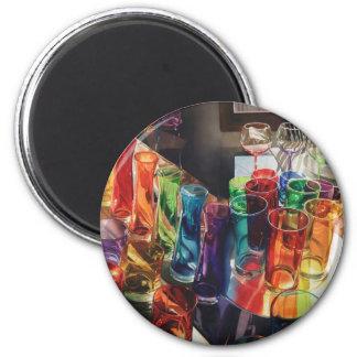 """Fascination"" Art Glass Still Life 2 Inch Round Magnet"
