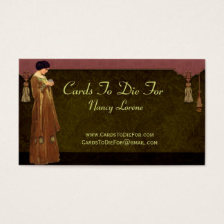 Fascination in Green, Gold & Rose Business Card