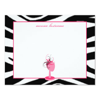 Fascinator & Hat Stand Zebra Print Flat Notecards