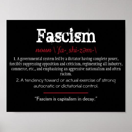 Fascism Definition Political Statement Red Poster