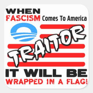 ¡Fascismo en una bandera Pegatinas Cuadradas