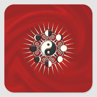 Fases de la luna, Sun y Yin Yang - polaridad y Pegatina Cuadrada