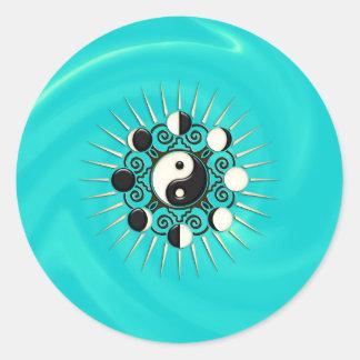Fases de la luna, Sun y Yin Yang - polaridad y Pegatina Redonda