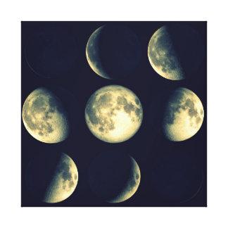 Fases del ciclo lunar del ~ de la luna lienzo envuelto para galerias