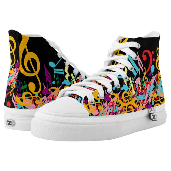 Fashinable designer mixed music notes High-Top sneakers