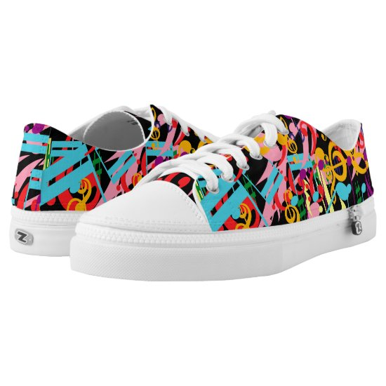 Fashinable designer mixed music notes Low-Top sneakers