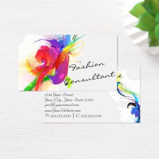 Fashion  Abstract Lorikeet Paint Splatter Business Card