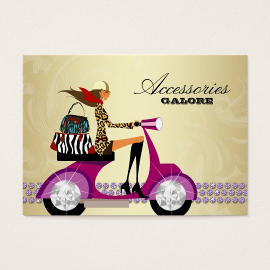 Fashion Accessories Purses Jewelry Purple Gold 2 Business Card