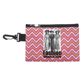 Fashion Always in Style 1900s Women Pink Chevron Accessories Bags
