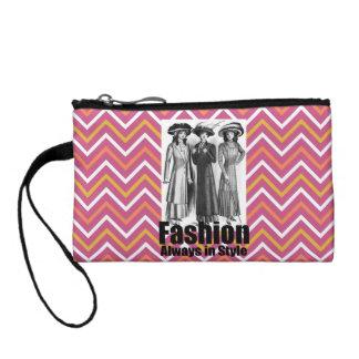 Fashion Always in Style 1900s Women Pink Chevron Coin Purse