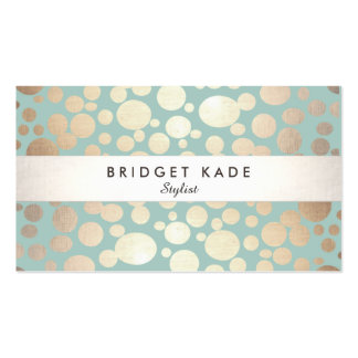 Fashion and Beauty Gold Turquoise Spotted Pattern Double-Sided Standard Business Cards (Pack Of 100)
