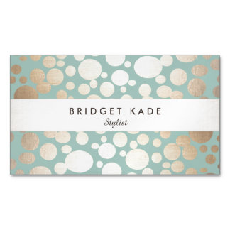 Fashion and Beauty Gold Turquoise Spotted Pattern Magnetic Business Card