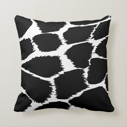 Fashion animal print mono black and white pillow