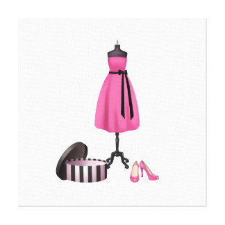Fashion Art on Canvas - Pink Dress and Shoes