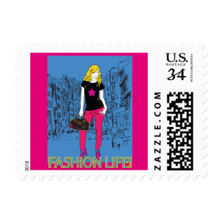 Fashion beautiful girl in city silhouette postage