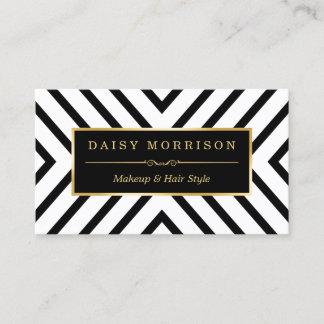 Fashion Beauty Gold Black White Line Pattern Business Card