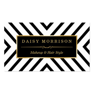 Fashion Beauty Gold Black White Line Pattern Business Card