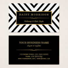 Fashion Beauty Gold Black White Line Pattern Business Card at Zazzle