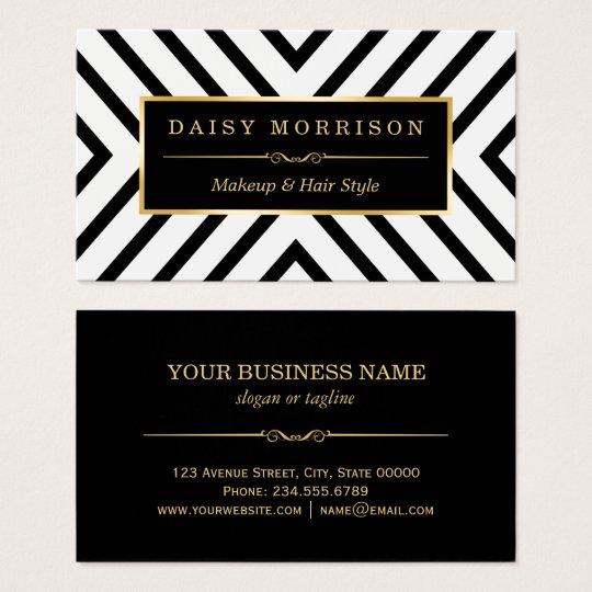 Fashion beauty gold black white line pattern business card zazzle fashion beauty gold black white line pattern business card reheart Image collections