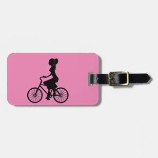 FASHION BEAUTY WOMAN CYCLIST VECTOR ICON TAG FOR LUGGAGE