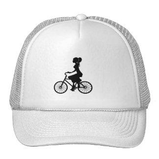 FASHION BEAUTY WOMAN CYCLIST VECTOR ICON TRUCKER HAT