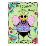 Fashion Bee Whimsy Honey Bee Art Happy Birthday Greeting Card