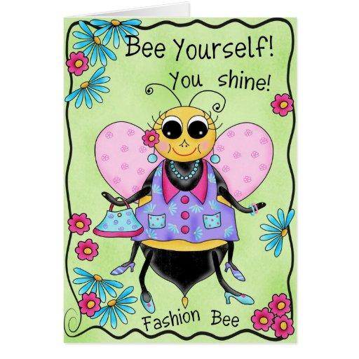 Fashion Bee Whimsy Honey Bee Art Happy Birthday Card – Fashion Birthday Cards