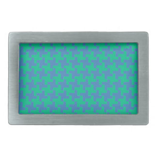 Fashion Belt Buckle, Emerald and Blue Dogtooth