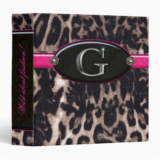 Fashion Binder Portfolio Leopard Flower Jewel Pink