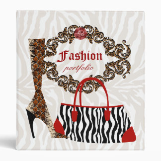 Fashion Binder Portfolio Zebra Purse Leather Boot
