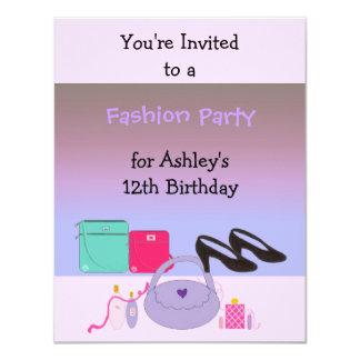 "Fashion Birthday Party Invitation 4.25"" X 5.5"" Invitation Card"